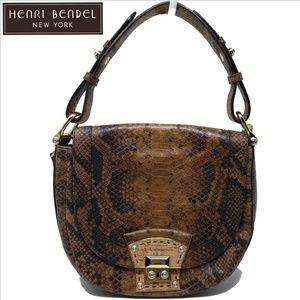 HENRI BENDEL Brown Snake Embossed Convertible Bag